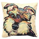Redland Art Cute Pet Schnauzer Dog Pattern Cotton Linen Throw Pillow Case Car Sofa Cushion Cover Home Decor 45x45cm