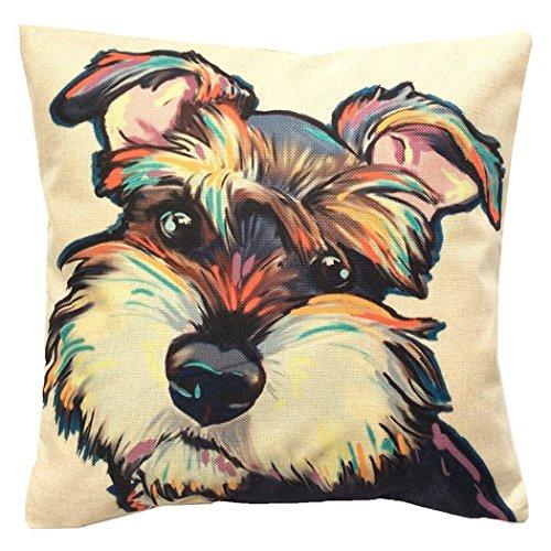 "Redland Art Cute Pet Schnauzer Dog Pattern Cotton Linen Throw Pillow Covers Car Sofa Cushion Cover Pillowcases Home Decor 18""x18"" (45x45cm)"