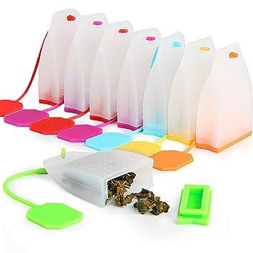 KEKU - Lote de 8 bolsas de té de silicona para infusor de té ...