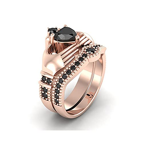 Mejor compromiso anillos de boda en 3,30 ct negro cubic zirconia forma de corazón