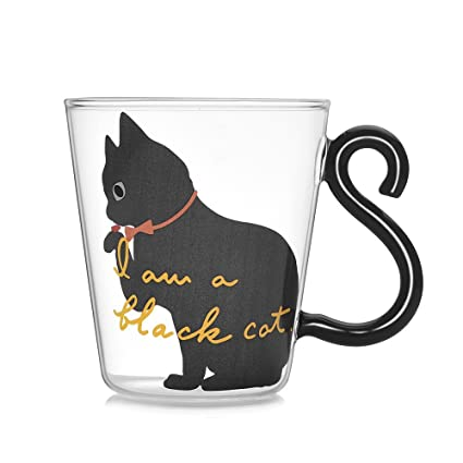 Amazon Com Cartoon Glass Cat Mug Coffee Cup By Sparrk With Cat