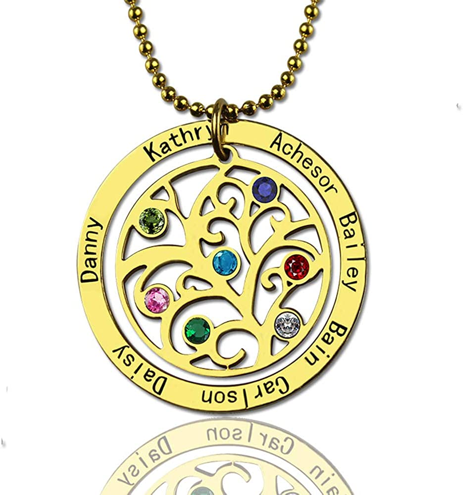 Junmei Engraved Family Trees Birthstone Necklace-Personalized Family Trees Name Necklace for Wife Mother