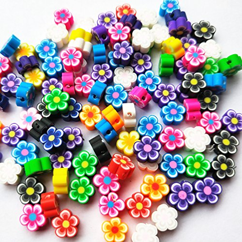 Flower Craft Beads Charms (Mosheng Accessory 100pcs Mix Assorted Fimo Polymer Clay Beads Findings With Hole Charm Necklace Bracelet Chain Jewelry Making Colorful Beads Diy Craft Supply (Flower))