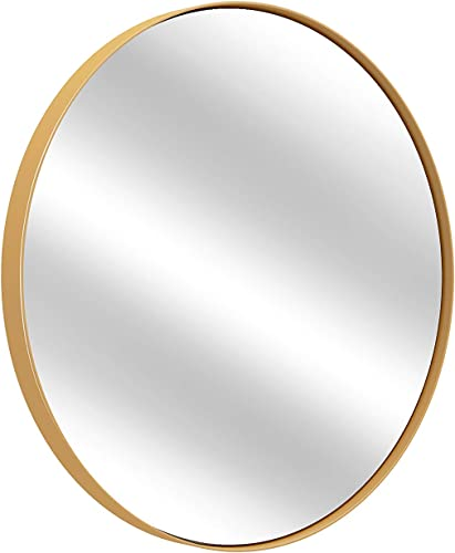 FOMAYKO Round Wall Mirror – 24 Inch Large Round Mirror, Rustic Accent Mirror for Bathroom, Entry, Dining Room, Living Room. Metal Gold Round Mirror for Wall, Vanity Mirror Large Circle Wall Mirror