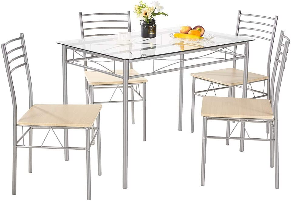 AMERLIFE 5 Piece Dining Table Set for 4 Person Modern Glass Top Kitchen Table and Chairs Counter Height Table with Durable Metal Frame for Family Home Dining Room
