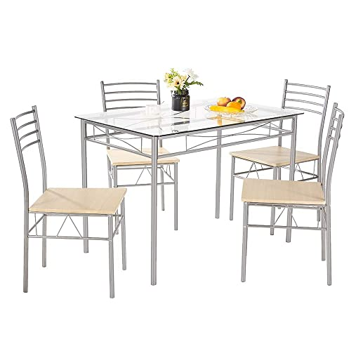 AMERLIFE Glass Dining Table Set with 4 Chairs Modern Tempered Glass Top 5 Piece Table and Chairs Counter Height Table with Durable Metal Frame for Family Home Kitchen Dining Room, Silver