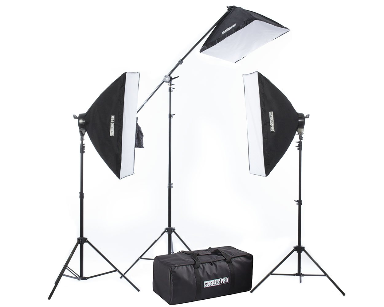 Fovitec 3x 20''x28'' Softbox Lighting Kit w/ 2500 W Total Output - [Classic][Includes Boom, Stands, Softboxes, Socket Heads, 11x 45W Bulbs]