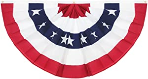 Anley USA Pleated Fan Flag, 3x6 Feet American US Bunting Flags Patriotic Stars & Stripes - Sharp Color and Fade Resistant - Canvas Header and Brass Grommets - United States 3 x 6 Feet Half Fan Banner