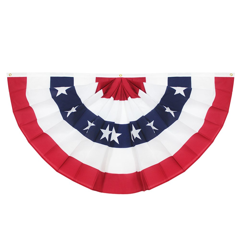 Usa Pleated Fan Flag Anley 3x6 Feet 90 X 180cm American Us Bunting Flags Patriotic Stars Stripes Sharp Color And Fade Resistant Canvas Header And Brass Grommets Usa