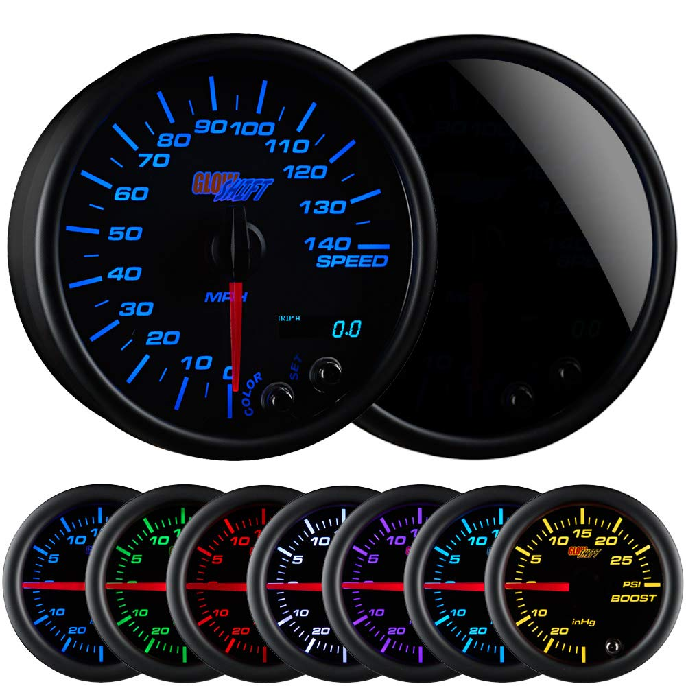Mounts In Custom Dashboard Resettable Trip Meter Smoked Lens Black Dial GlowShift Tinted 7 Color 140 MPH Speedometer Gauge 3-3//4 95mm