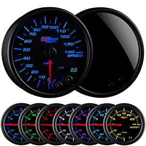 """GlowShift Tinted 7 Color 140 MPH Speedometer Gauge - Mounts In Custom Dashboard - Resettable Trip Meter - Black Dial - Smoked Lens - 3-3/4"""" 95mm"""