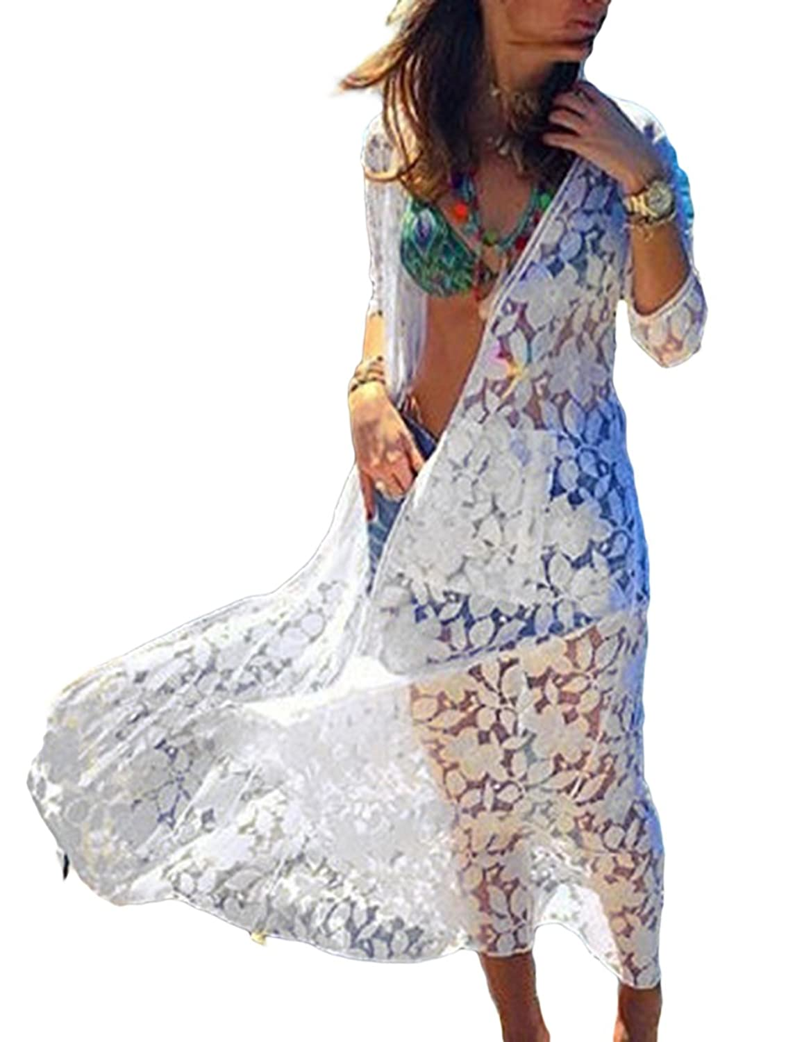 Blouses & Shirts Hearty Ladies Women Beach Cover Up Kaftan Sarong Summer Wear Swimwear Bikini Summer Lace Loose Short Sleeve Casual See-through