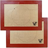 """Silicone Baking Mat for Toaster Oven - Set of 2 mats (Size 7 7/8"""" x 10 13/16"""") - Non Stick Silicon Liners for Sheets, Trays & Pans - Pizza/Hot Dog/Sandwich/Cookie Making - Professional Grade"""