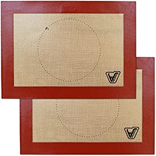 """Velesco Silicone Baking Mat for Toaster Oven - Set of 2 mats (Size 7 7/8"""" x 10 13/16"""") - Non Stick Silicon Liners for Sheets, Trays & Pans - Pizza/Hot Dog/Sandwich/Cookie Making - Professional Grade"""