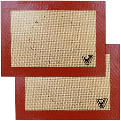 "Silicone Baking Mat for Toaster Oven - Set of 2 mats (Size 7 7/8"" x 10 13/16"") - Non Stick Silicon Liners for Sheets, Trays & Pans - Pizza/Hot Dog/Sandwich/Cookie Making - Professional Grade"