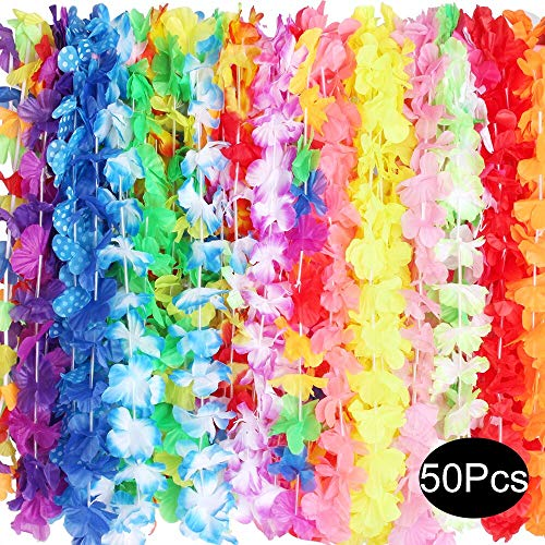 Outee Hawaiian Leis Silk Flower Leis Party Favors Bulk 50 Pcs Tropical Hawaiian Necklaces 25 Colors Luau Party Decorations Party Supplies for Kids Adults]()