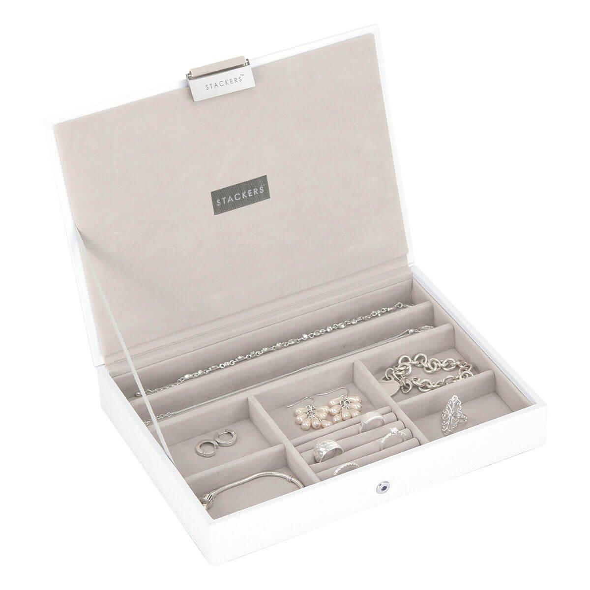 Stackers - Portagioie con scomparti, misura classica, con coperchio e rivestimento interno in velluto, colore: Bianco Carters of London 70957