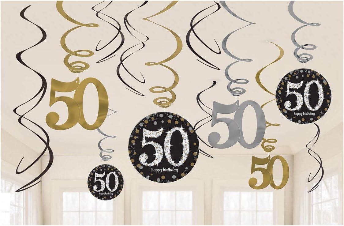 Amscan670479- Pack de decoración para cumpleaños de oro, 50 cumpleaños