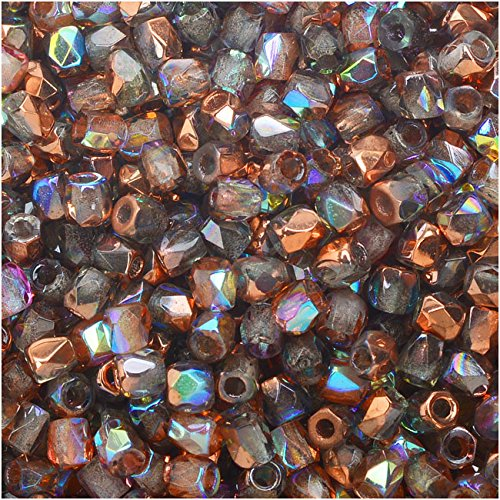 Czech Fire 50 Crystal Polished - True2 Czech Fire Polished Glass, Faceted Round Beads 2mm, 50 Pieces, Crystal Copper Rainbow