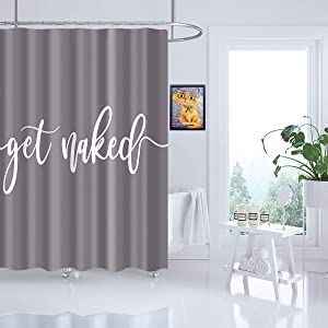 Get Naked Shower Curtain 47 x 72 Inch Bath Curtain with Funny Words Polyester Waterproof Soap Resistant Machine Washable Gray Background Bathroom Decor Shower Curtain Set with 12 Hooks