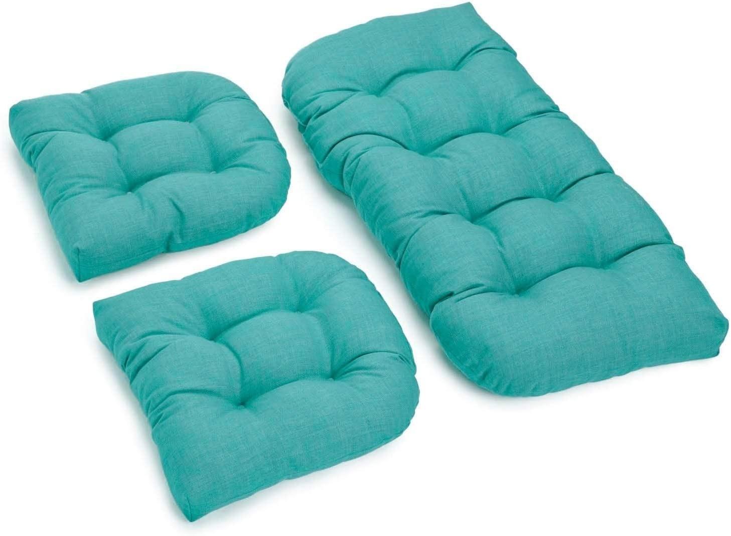 Blazing Needles All-Weather Bench Cushion Set Set of 3 Aqua Blue