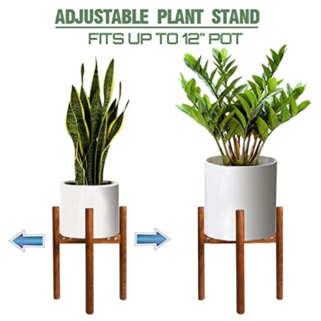 0b2325d13446 Amazon.com : Adjustable Wood Plant Stand Indoor Mid Century Modern Plant Pot  Holder, Best fits 9 to 12 Inch Flower Pot(Plant and Pot not Included) :  Garden ...