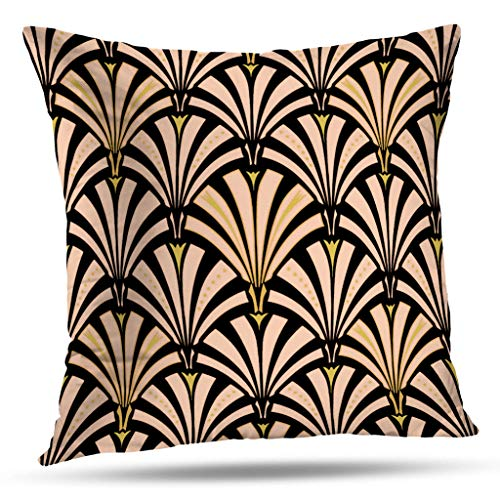 Art Deco Bed - Pakaku Throw Pillows Covers for Couch/Bed 16 x 16 inch,Art Deco Fan Pattern Peach Home Sofa Cushion Cover Pillowcase Gift Decorative Hidden Zipper Design Cotton and Polyester Blended Soft Touch