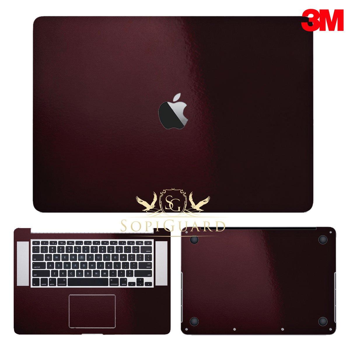 SopiGuard 3M Gloss Black Rose Precision Edge-to-Edge Coverage Vinyl Sticker Skin for Apple Macbook Pro 15 Retina (A1398)