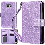 UrbanDrama Case for Galaxy S7 Edge, S7 Edge Wallet Kicktand Shiny Luxury Folio Flip PU Leather Wristlet ID Credit Card Slot Cash Pocket Phone Case Compatible for Samsung Galaxy S7 Edge, Purple