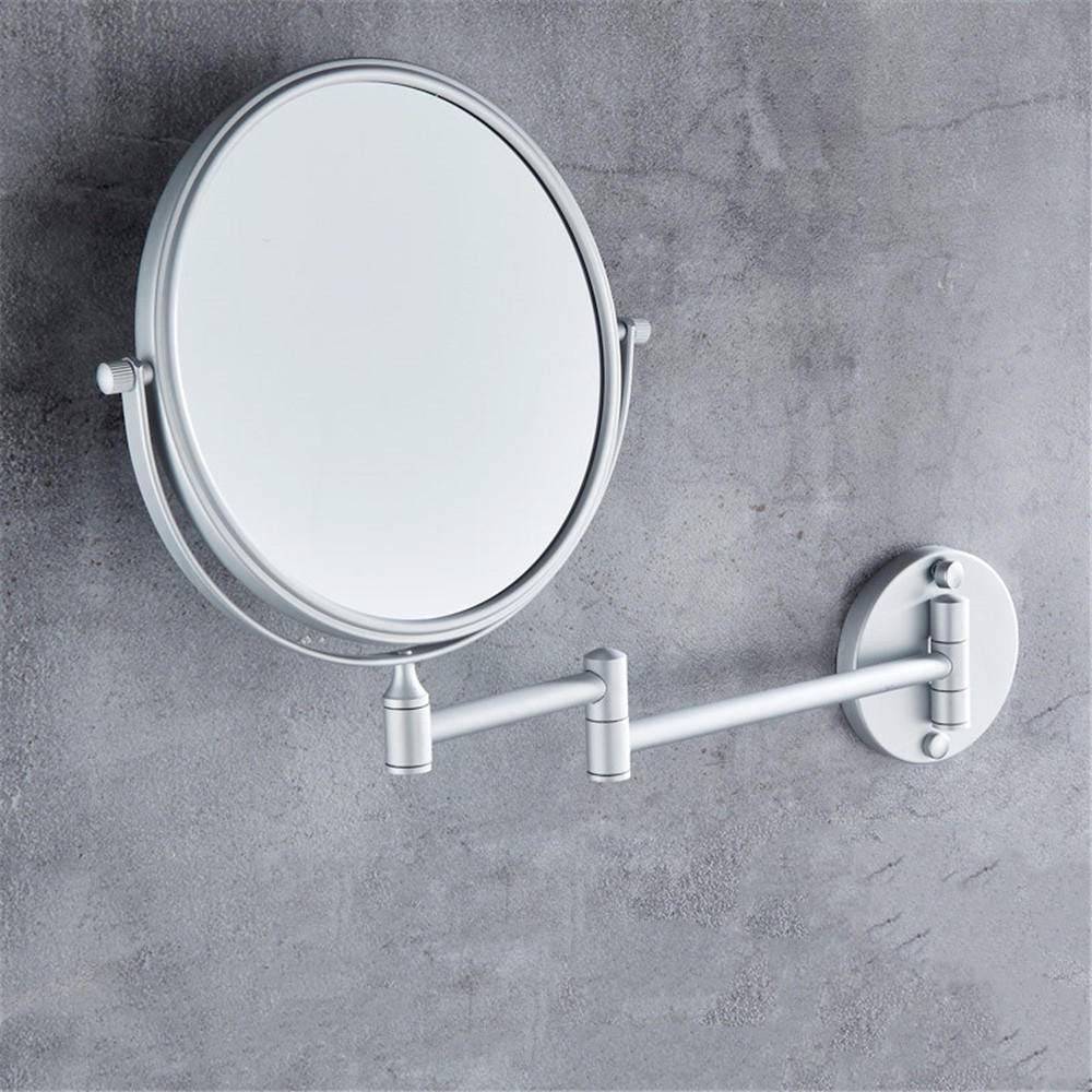 Bathroom Rotating Telescopic Mirror Folding Beauty Cosmetic Mirror Wall Mounted Double Mirror Bathroom Triple Magnifying Glass@Matt