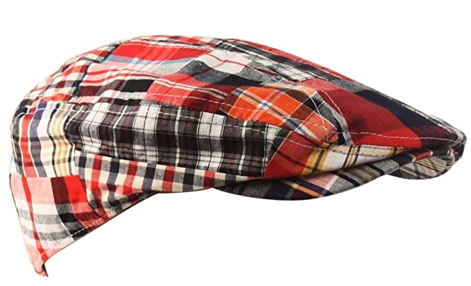 TitFus Men s Plaid Patchwork Newsboy Ivy Flat Cap hat Quilted (Red ... 97c42124662