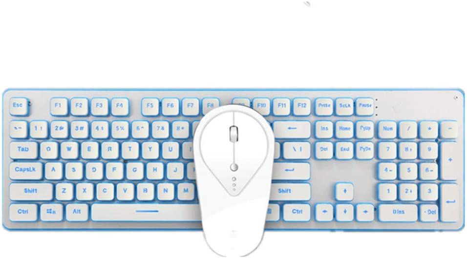 BHGFCGYUH 2.4G Wireless Rechargeable LED Backlight USB Anthropological Game Keyboard and Mouse Mute Suite