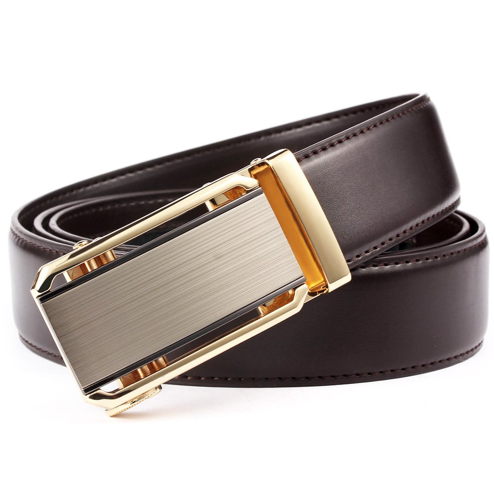 Founders & C Mens Ratchet Dress Belt- Genuine Leather Adjustable Belt 1 3/8'' Wide with Automatic Sliding Buckle