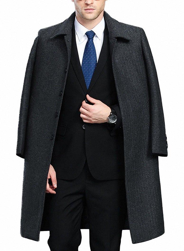 FASHINTY Men's Classical France Style Twill Wool Coat Windbreaker #00160 Gy&Fur XL