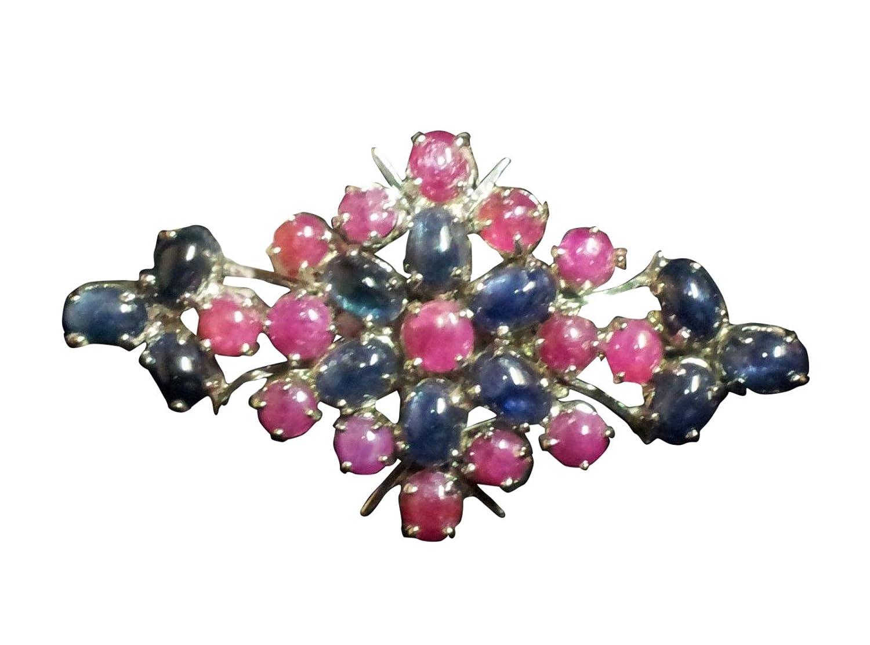 Rajasthan Gems poinçonné argent sterling 925Broche avec Naturel véritable Rubis, Saphir bleu véritable Saphir bleu véritable 9822390