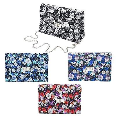 Elegant PU Leather Floral Turnlock Flap Clutch Bag Handbag - Diff Colors