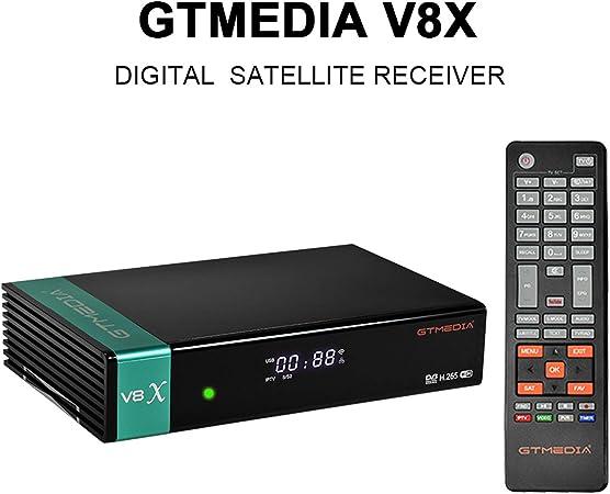 GT Media V8X DVB-S / S2 / S2X Decodificador de Receptor de TV Satelital Digital con Wi-Fi Incorporado / 1080P Full HD/FTA Soporte CC CAM, Youtube, Ranura para Tarjeta CA (V8 Nova