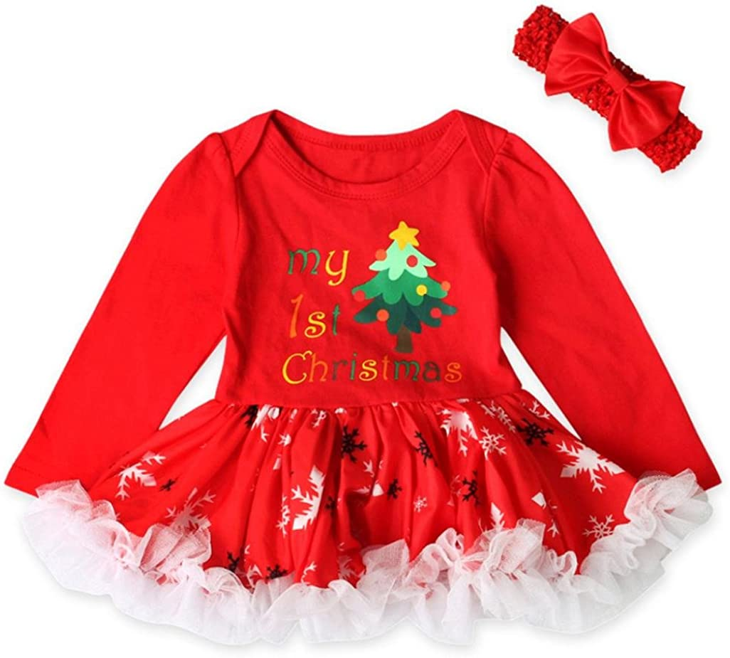 Toddler Newborn Baby Girls Christmas Feast Princess Red Tutu Dress Outfits Set
