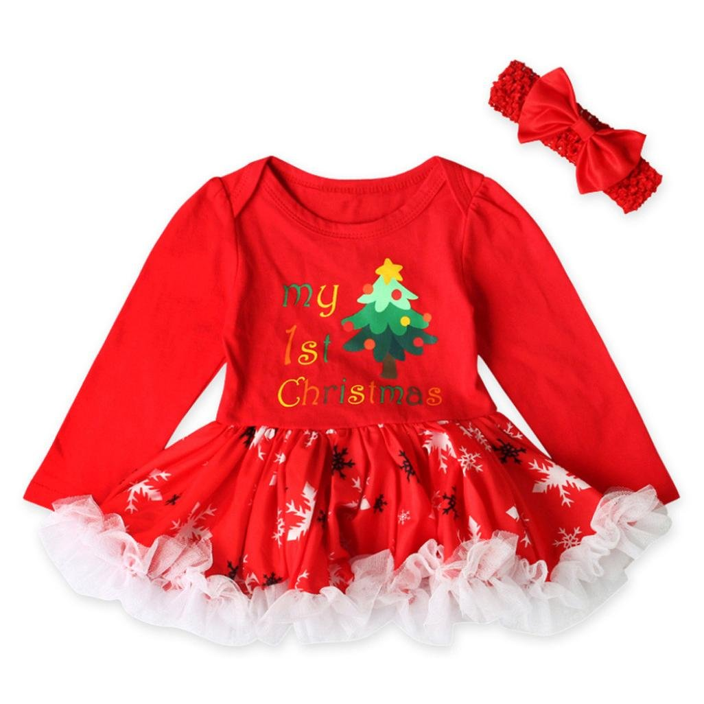 My First Christmas Dress, Baby Girl Princess Tutu Dress + Headband Clothes Set