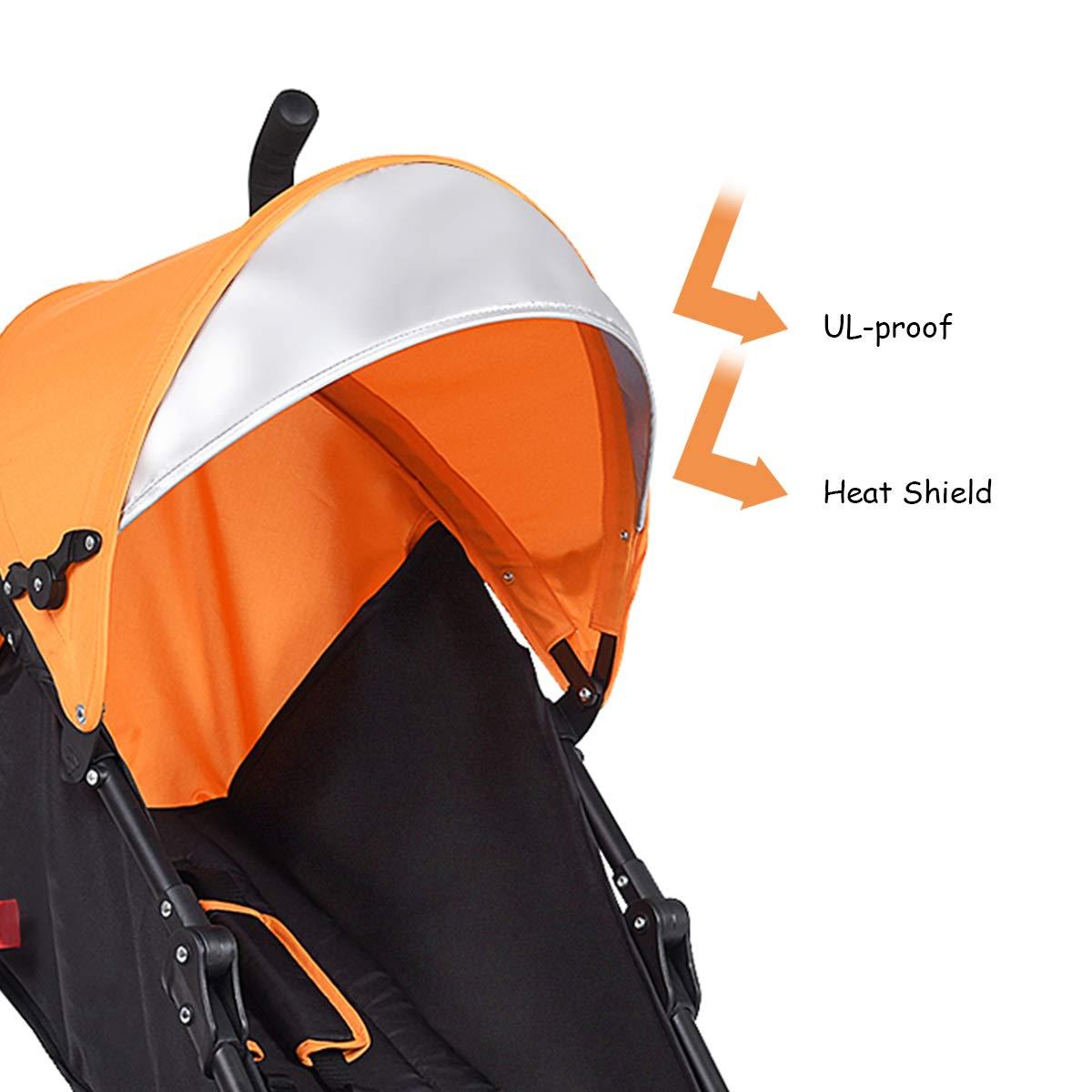 INFANS Lightweight Baby Umbrella Stroller, Foldable Infant Travel Stroller with 4 Position Recline, Adjustable Backrest, Cup Holder, Storage Basket, UV Protection Canopy, Carry Belt (Orange) by INFANS (Image #7)