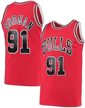 LCY Camiseta de Baloncesto de los Hombres - Jersey NBA Bulls # 91 Rodman Retro sin Mangas Transpirable Fitness Deportivo Camisetas Ventiladores Jerseys: Amazon.es: Deportes y aire libre