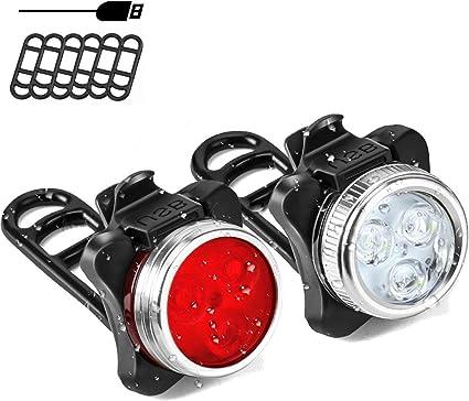 /Éclairage USB Antichoc Impermeable 4 Modes de Luminosit/é pour VTT VTC Cycliste Poussette Camping Rantizon Phare Lampe LED de V/élo 650mh Lumi/ère V/élo Rechargeable Avant et Arri/ère
