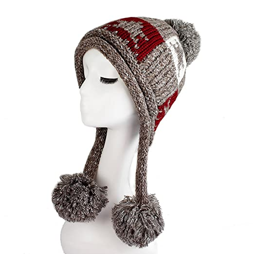 Ibeauti Exquisite Women s Winter Warm Crochet Cap with Ear Flaps Knitted  (Coffee) 0c5363557d9