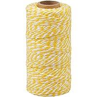 G2PLUS 100 M Geel en Wit Craft Bakers Twine 2mm Katoen Tuin Draad Duurzame Tags Tie Labels String Spool voor DIY…