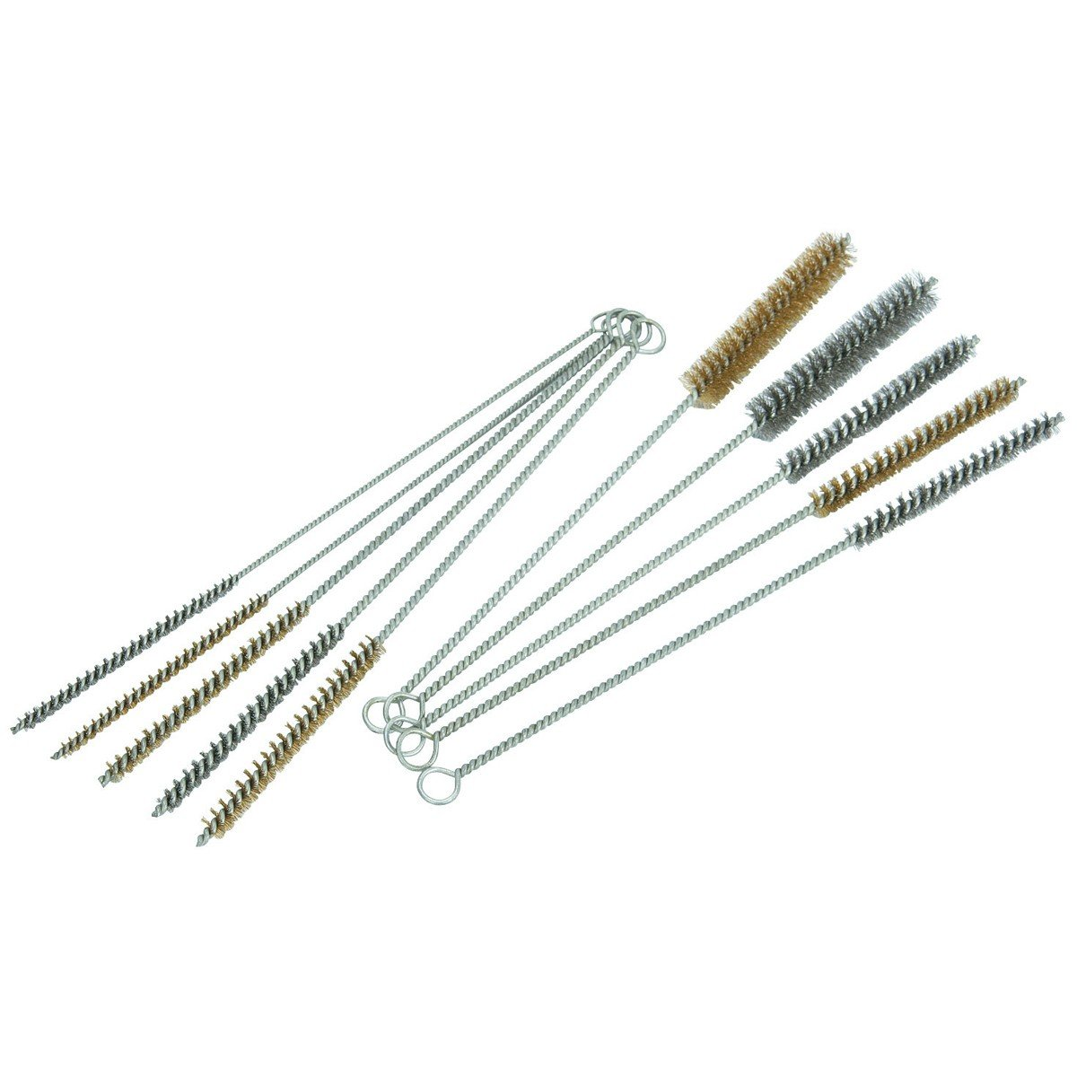 10 Piece Tube Bottle Brush Kit Brass Stainless Steel Bristle 12'' Long, Size 1/4'' to 3/4'' PMD Products