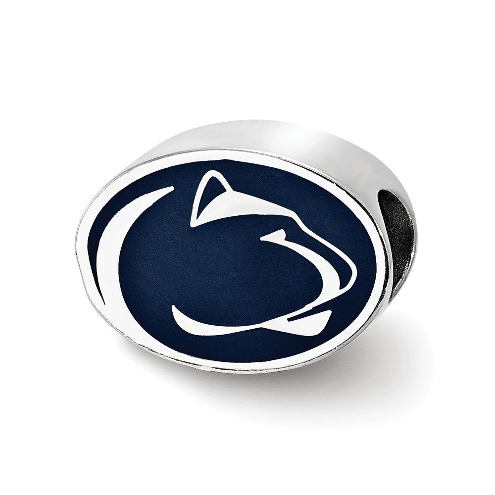 14.4mm x 10.4mm Solid 925 Sterling Silver Penn State University Enameled Bead