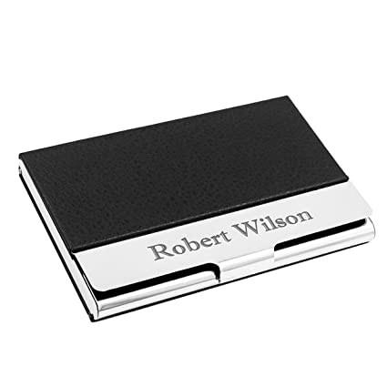 Amazon personalized leather business card case stainless personalized leather business card case stainless steel credit card holder free engraving reheart Gallery