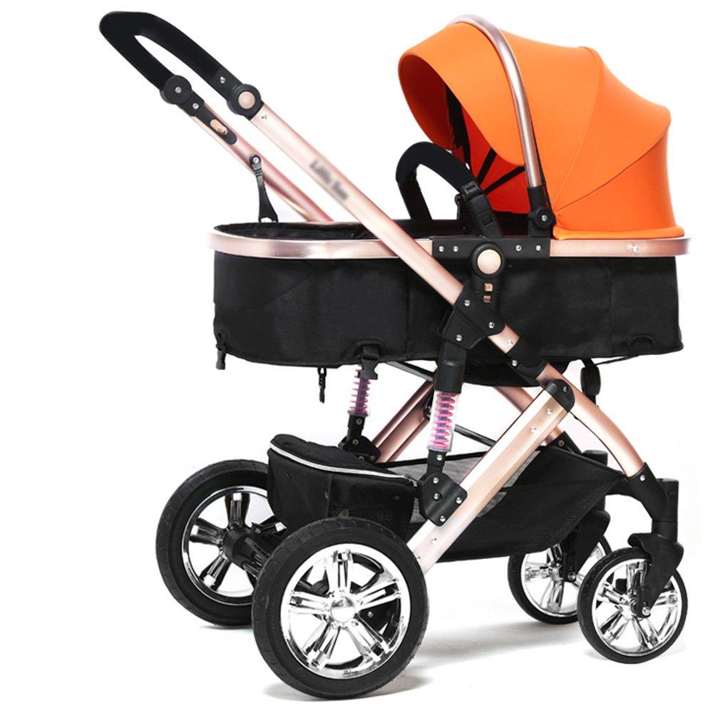 HAIZHEN マウンテンバイク 赤ちゃんのベビーカーのトラベルシステム赤ちゃんのベビーカー高い風景は、子供たちがトロリー冬と夏の二重使用軽量の赤ちゃんキャリッジ調節可能なプッシャーベビーカーを座って座ることができます 新生児 B07CCJJN7S オレンジ オレンジ