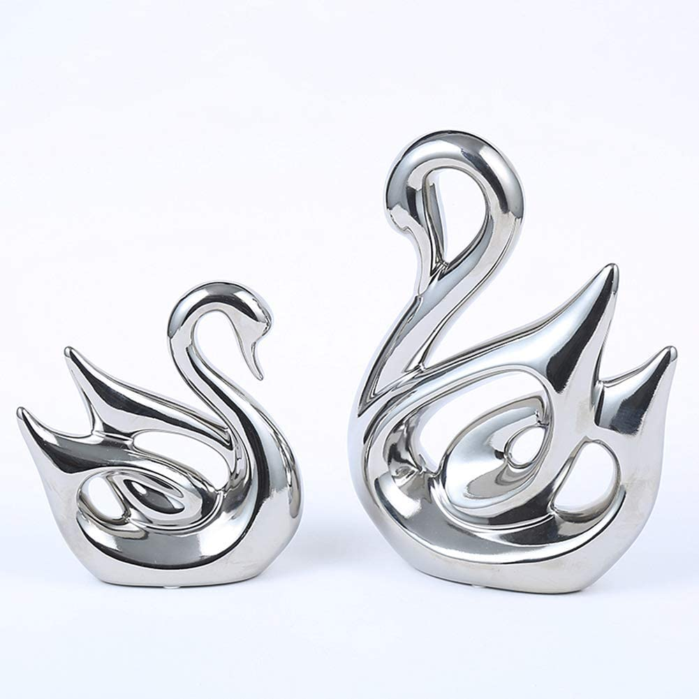 Anding Creative Home Decoration Ceramic Animal Statue Decoration Crafts Swan Lover (LY1269-Silver) Sculpture Souvenir Gift
