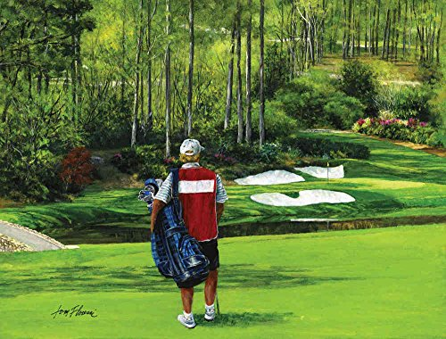 10.5' wide by 8' high. Prepasted wallpaper mural from an original painting of: Somewhere in Paradise: Hole #12 at the Augusta National Golf Club (The Masters). Watch our video on how to hang our murals in 1-Hr with NO problem.126